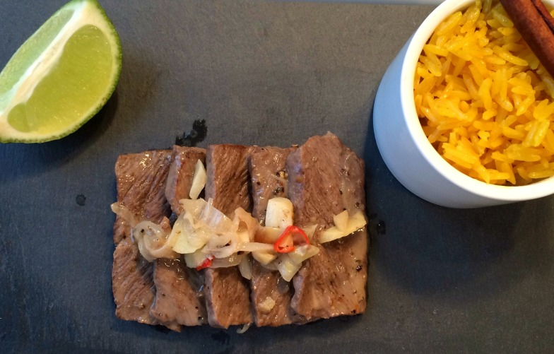 Indonesian Beef Rendang with Coconut Lime Sauce and Turmeric Jasmine Rice