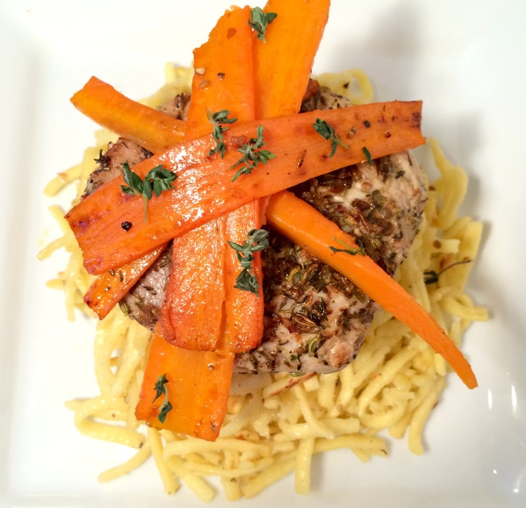 Pan-Roasted Mustard Pork with Spaetzle and Carrots