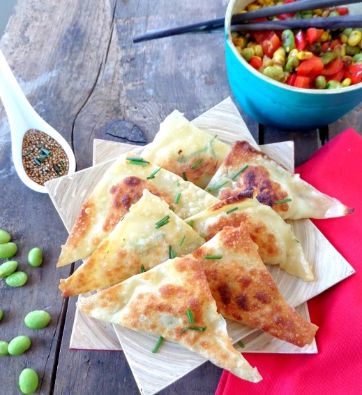 Shrimp Gyozas with Spring Succotash