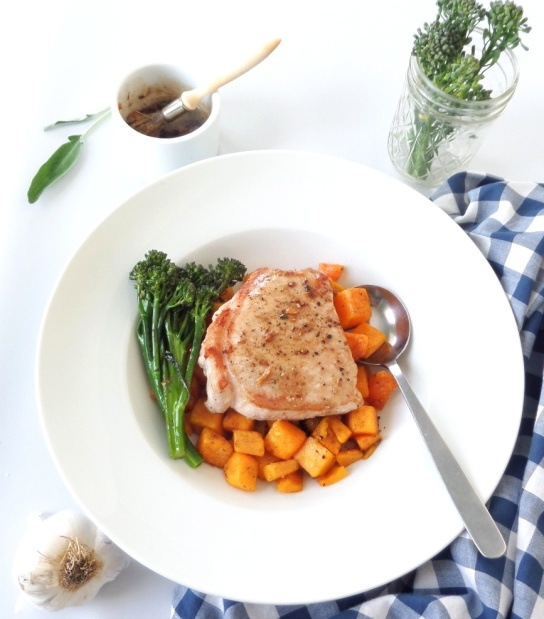 Sage-Butter Pork Chop with Butternut Squash and Broccolini