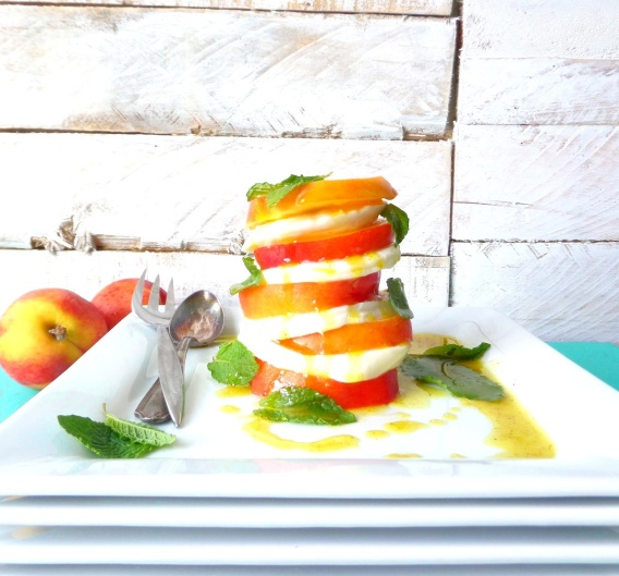 Minty Peach Caprese Salad with Curry Vinaigrette